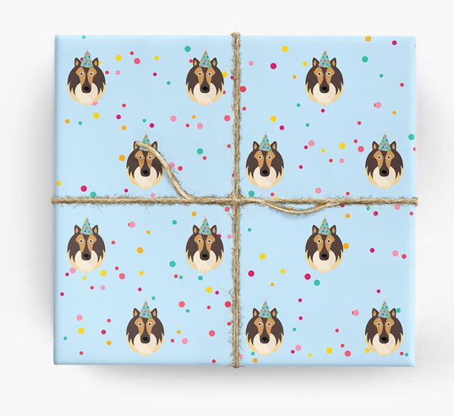 Birthday Confetti Wrapping Paper with Shetland Sheepdog Icons