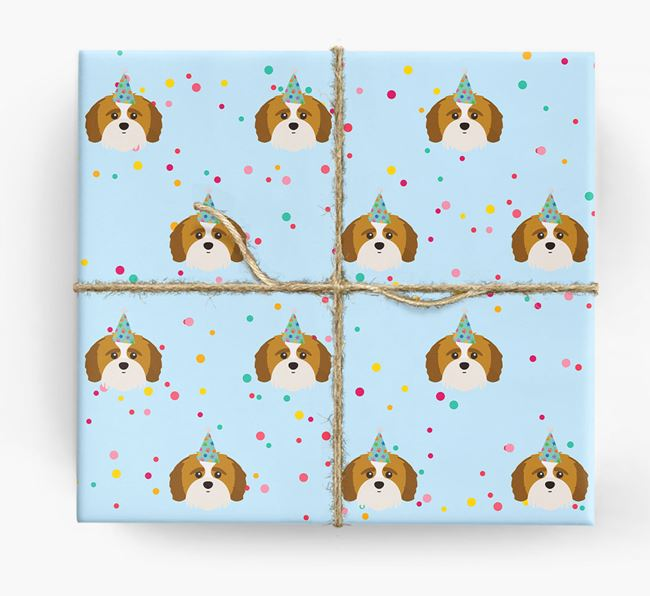 Birthday Confetti Wrapping Paper with Shih-poo Icons