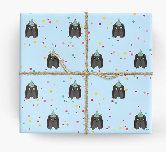 Birthday Confetti Wrapping Paper with Shih Tzu Icons