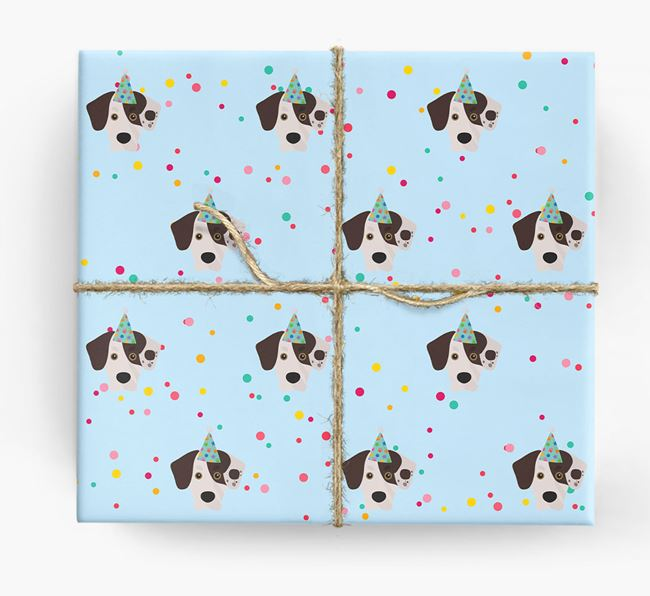 Birthday Confetti Wrapping Paper with Siberian Cocker Icons
