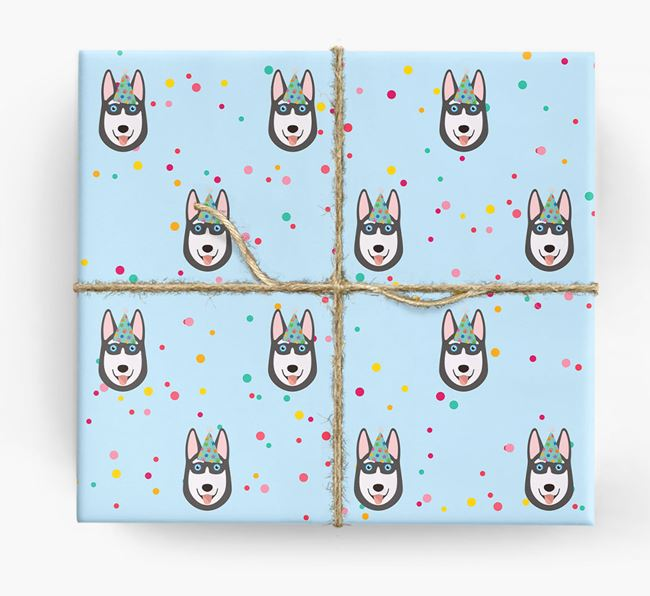 Birthday Confetti Wrapping Paper with Siberian Husky Icons