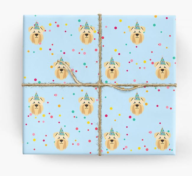 Birthday Confetti Wrapping Paper with Soft Coated Wheaten Terrier Icons