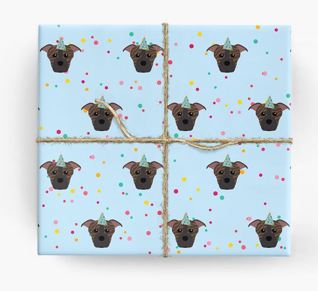 Birthday Confetti Wrapping Paper with Staffordshire Bull Terrier Icons