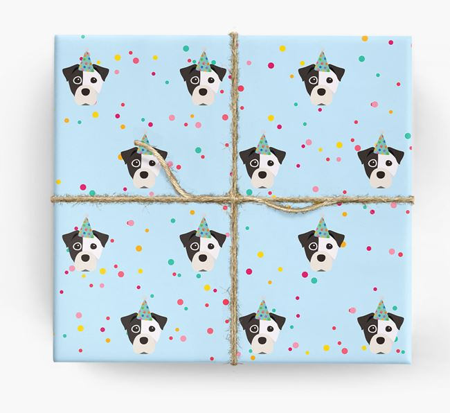 Birthday Confetti Wrapping Paper with Staffy Jack Icons