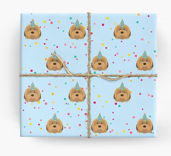 Birthday Confetti Wrapping Paper with Tibetan Terrier Icons