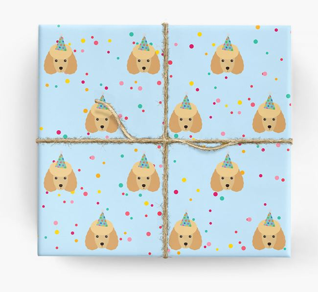 Birthday Confetti Wrapping Paper with Toy Poodle Icons