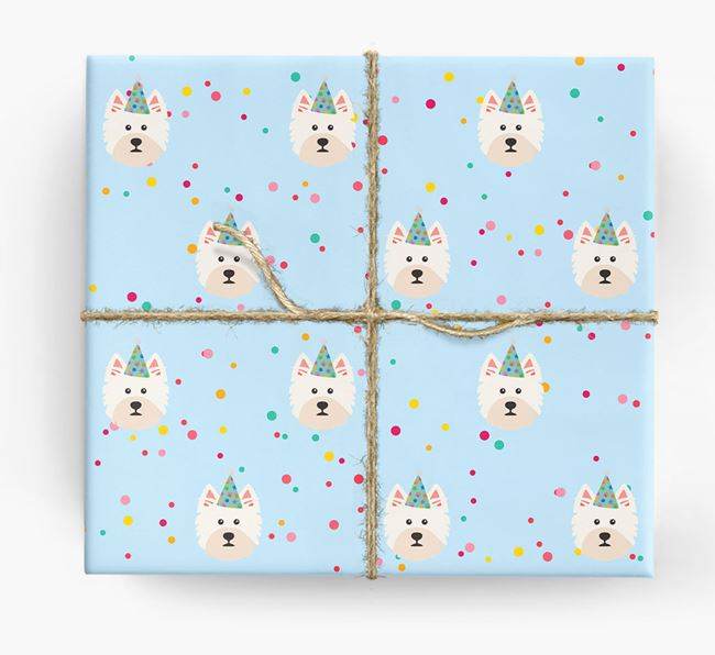 Birthday Confetti Wrapping Paper with West Highland White Terrier Icons