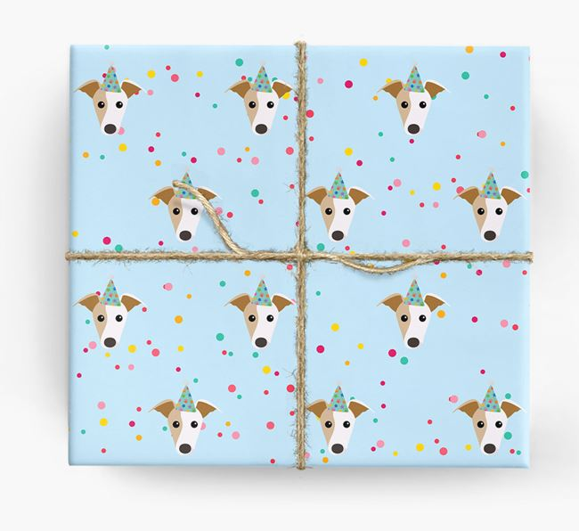 Birthday Confetti Wrapping Paper with Whippet Icons