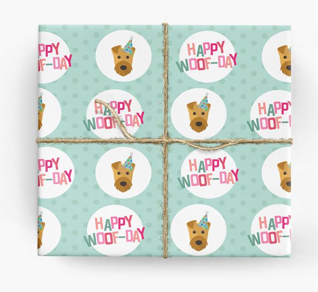 'Happy Woof-day' Wrapping Paper with Airedale Terrier Icons