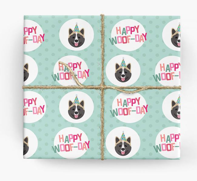 'Happy Woof-day' Wrapping Paper with Akita Icons