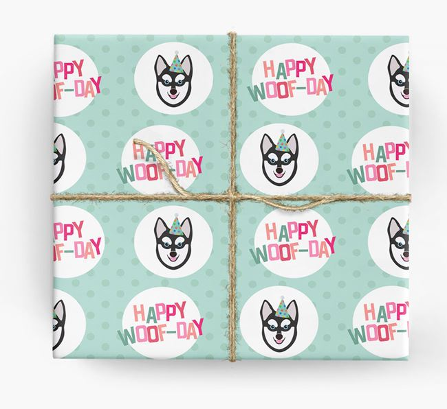 'Happy Woof-day' Wrapping Paper with Alaskan Klee Kai Icons