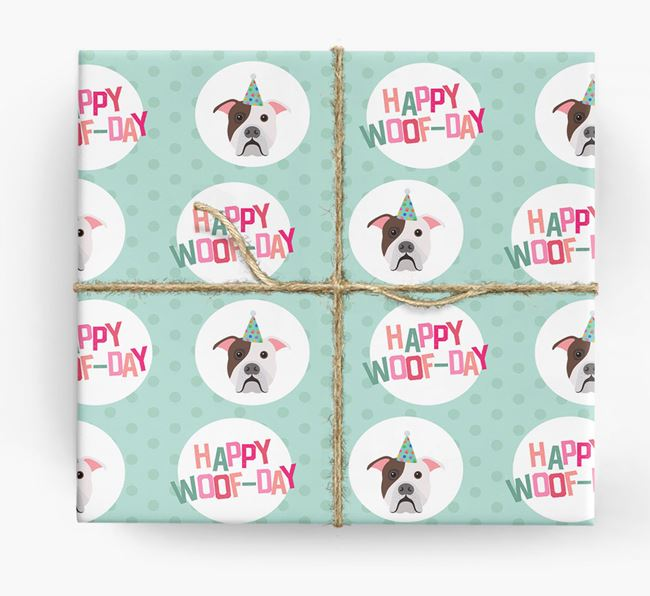 'Happy Woof-day' Wrapping Paper with American Bulldog Icons