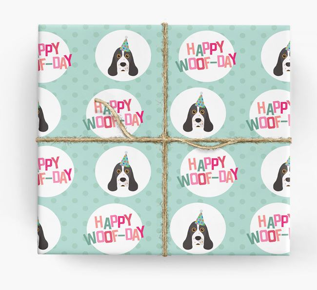 'Happy Woof-day' Wrapping Paper with American Cocker Spaniel Icons