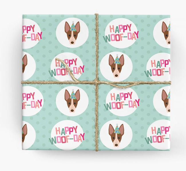 'Happy Woof-day' Wrapping Paper with American Hairless Terrier Icons