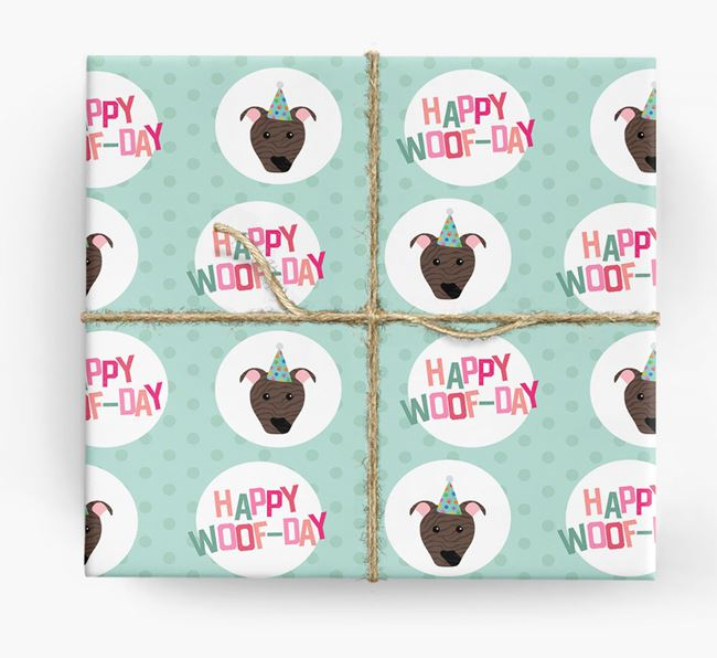 'Happy Woof-day' Wrapping Paper with American Pit Bull Terrier Icons