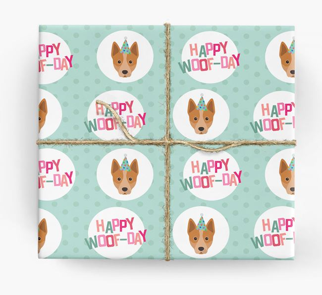 'Happy Woof-day' Wrapping Paper with Australian Cattle Dog Icons
