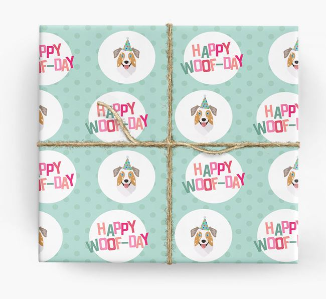 'Happy Woof-day' Wrapping Paper with Australian Shepherd Icons