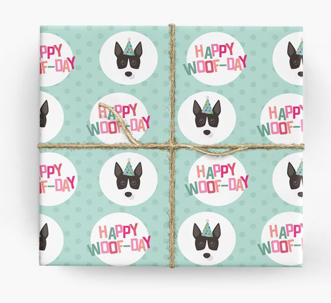 'Happy Woof-day' Wrapping Paper with Basenji Icons