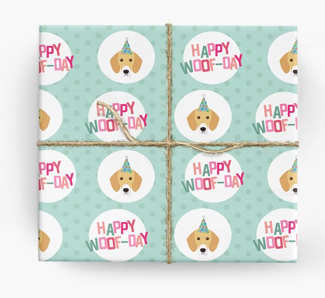 'Happy Woof-day' Wrapping Paper with Bassador Icons