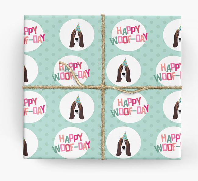 'Happy Woof-day' Wrapping Paper with Basset Hound Icons