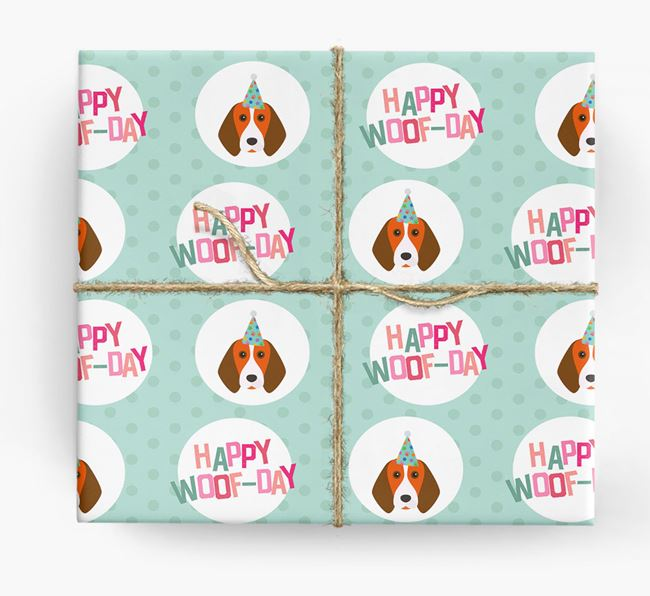'Happy Woof-day' Wrapping Paper with Beagle Icons