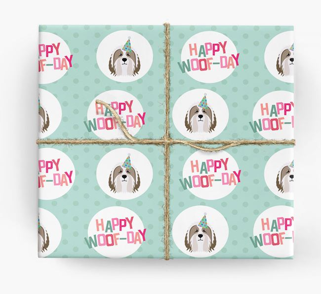 'Happy Woof-day' Wrapping Paper with Bearded Collie Icons