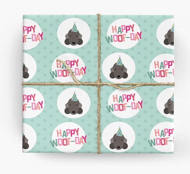 'Happy Woof-day' Wrapping Paper with Bedlington Terrier Icons