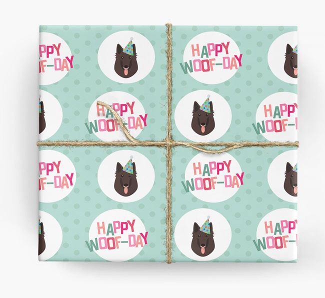 'Happy Woof-day' Wrapping Paper with Belgian Groenendael Icons