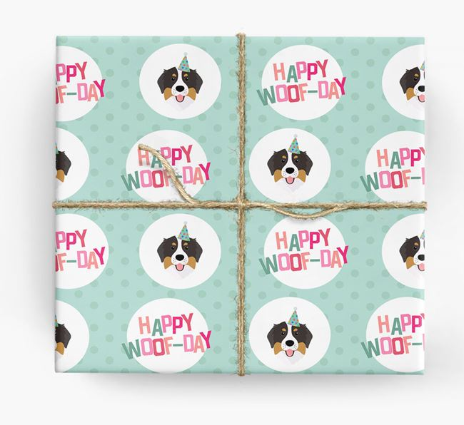 'Happy Woof-day' Wrapping Paper with Bernese Mountain Dog Icons