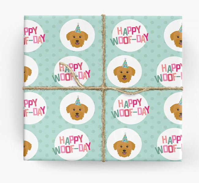 'Happy Woof-day' Wrapping Paper with Bichon Yorkie Icons