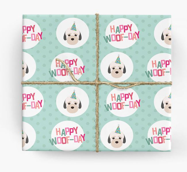 'Happy Woof-day' Wrapping Paper with Bich-poo Icons