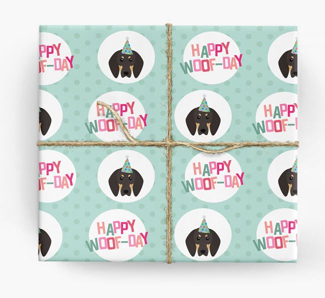 'Happy Woof-day' Wrapping Paper with Black and Tan Coonhound Icons