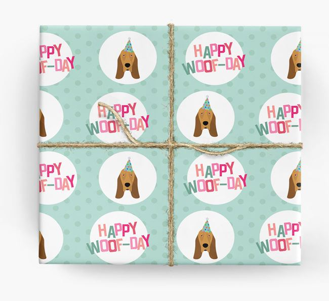 'Happy Woof-day' Wrapping Paper with Bloodhound Icons