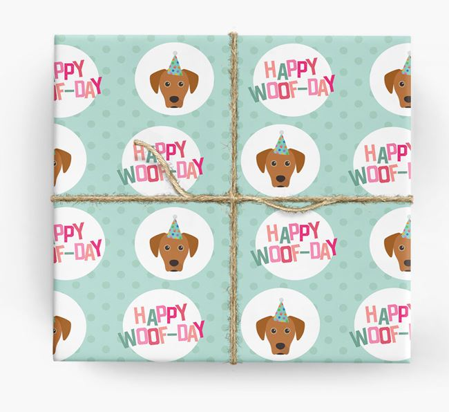'Happy Woof-day' Wrapping Paper with Blue Lacy Icons