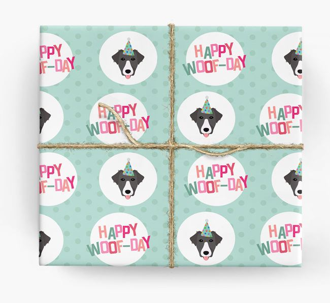 'Happy Woof-day' Wrapping Paper with Borador Icons