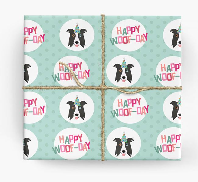 'Happy Woof-day' Wrapping Paper with Border Collie Icons