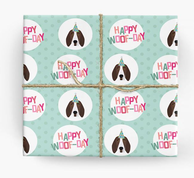 'Happy Woof-day' Wrapping Paper with Bracco Italiano Icons