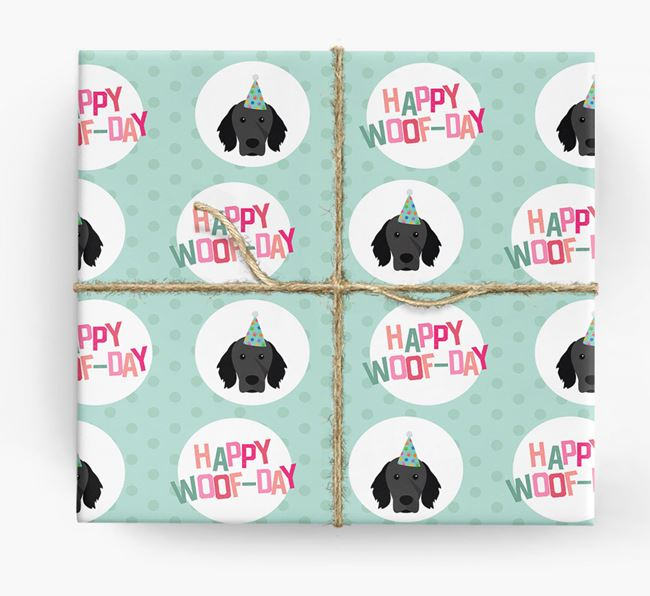 'Happy Woof-day' Wrapping Paper with Brittany Icons