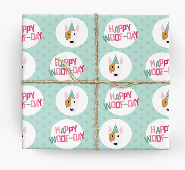 'Happy Woof-day' Wrapping Paper with Bull Terrier Icons