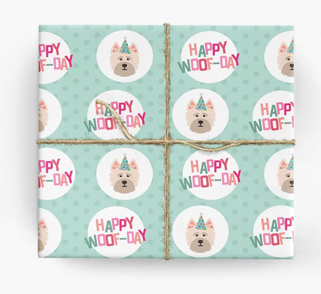 'Happy Woof-day' Wrapping Paper with Cairn Terrier Icons