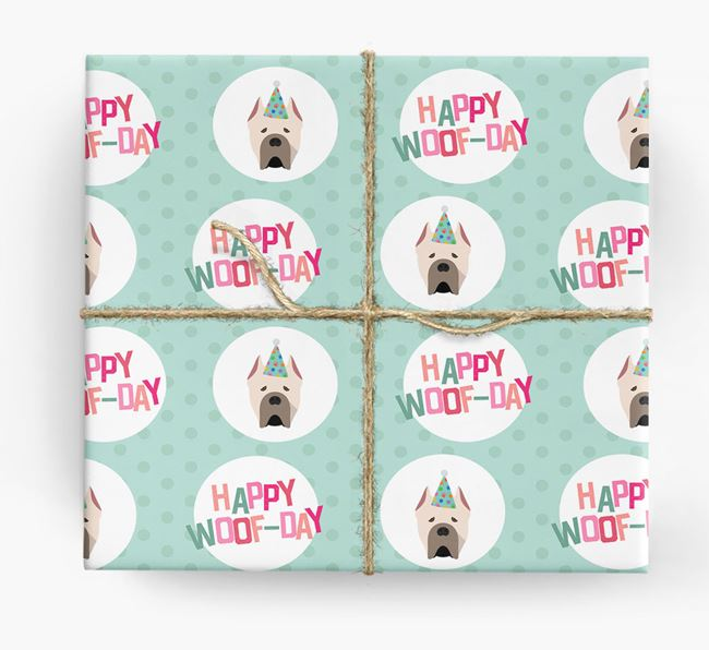 'Happy Woof-day' Wrapping Paper with Cane Corso Italiano Icons