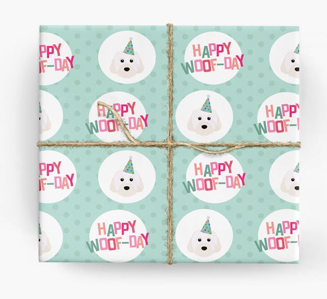 'Happy Woof-day' Wrapping Paper with Cavachon Icons