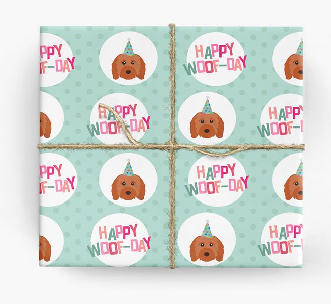 'Happy Woof-day' Wrapping Paper with Cavapoo Icons