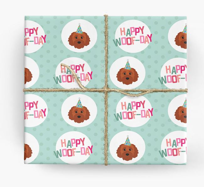 'Happy Woof-day' Wrapping Paper with Cavapoochon Icons
