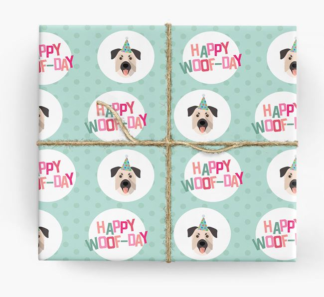 'Happy Woof-day' Wrapping Paper with Chinook Icons