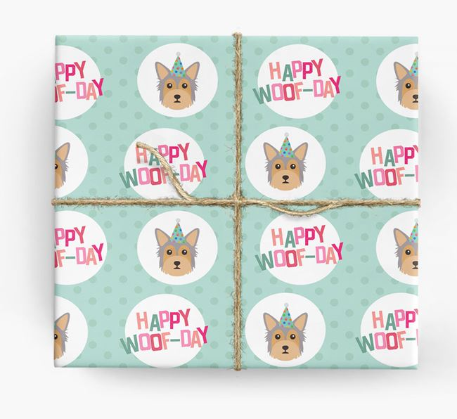 'Happy Woof-day' Wrapping Paper with Chorkie Icons