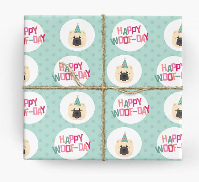 'Happy Woof-day' Wrapping Paper with Chow Chow Icons