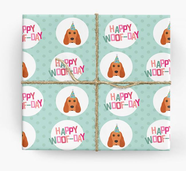 'Happy Woof-day' Wrapping Paper with Cocker Spaniel Icons