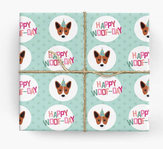 'Happy Woof-day' Wrapping Paper with Cojack Icons