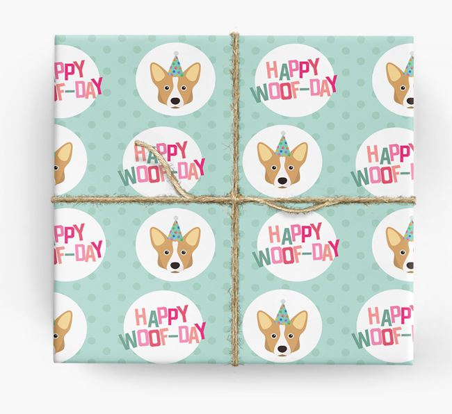 'Happy Woof-day' Wrapping Paper with Corgi Icons